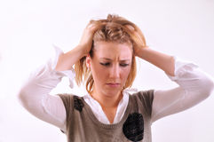 Young woman with headache Stock Image