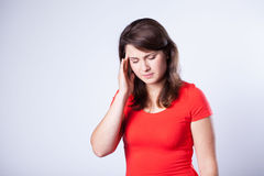 Young woman with headache Stock Images