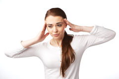 Young woman with headache, the worried. Stock Photography