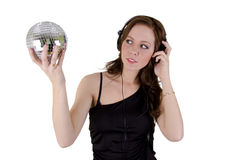 Young woman with headphone. On over white Stock Photo