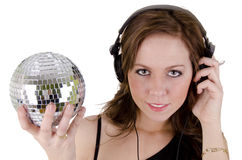 Young woman with headphone. On over white Royalty Free Stock Image