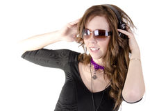 Young woman with headphone Stock Image