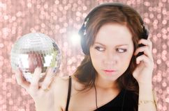 Young woman with headphone Royalty Free Stock Images
