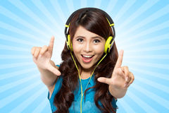 Young woman with headphone,  Royalty Free Stock Images