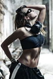 Young woman with headphones Royalty Free Stock Photos