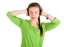 Young woman in headphones Stock Image