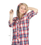 Young woman in headphones Royalty Free Stock Photos