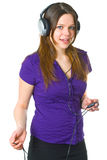 Young woman with headphones Stock Image