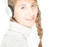 Young woman with headphones. Stock Photos