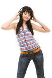 Young woman in headphones Royalty Free Stock Images