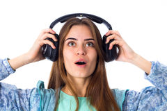 Young woman in headphones Stock Photography