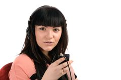 Young woman with headphones listen music, isolated on Stock Photo