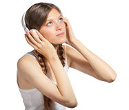 Young woman with headphones Stock Photos