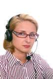 Young woman with headphones and microphone Stock Photos