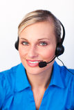 Young woman with headset on Stock Photo