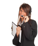 Young woman in headset Royalty Free Stock Photos
