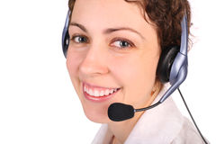Young woman with headset close-up Royalty Free Stock Images