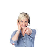 Young Woman With Headset Pointing At Camera Stock Photos
