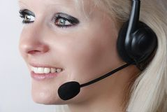 Young woman with headset Stock Photos