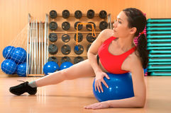 Young woman in a health club Royalty Free Stock Image