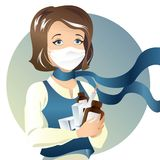 Young woman in health mask. To protect from viruses and with medicines in hands Stock Image