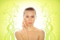 Young woman with health skin of face Stock Photos