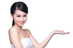 Young woman with health skin show Royalty Free Stock Photo