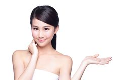 Young woman with health skin show Stock Image