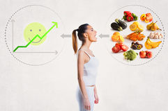 Young woman and a healthy diet concept Royalty Free Stock Photos