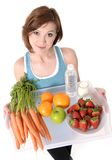 Young woman with healthy fruit tray and water Royalty Free Stock Photo
