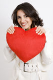 Young woman with heart Royalty Free Stock Photography