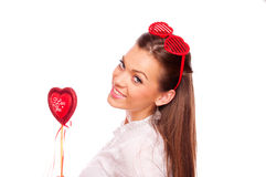 Young woman with heart Stock Photo