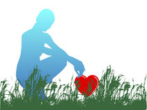 Young woman heart from grass Royalty Free Stock Photography
