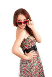 Young woman with heart shape glasses Stock Photos