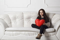 Young woman with heart Stock Photography