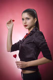 Young woman with hearts Royalty Free Stock Photos
