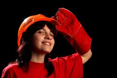 Young woman with helmet Stock Photography