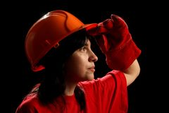 Young woman with helmet Royalty Free Stock Image