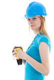 Young woman in helmet with protective receivers Royalty Free Stock Image
