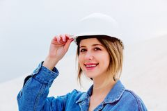Young woman in helmet stay at outdoor. royalty free stock photos