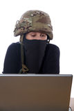 Hacker with computer Stock Photo