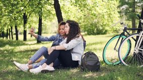Young woman and her African American friend are taking selfie, posing and having fun sitting on lawn in park. Warm sunny. Pretty young woman and her African stock video