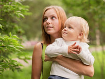 Young woman with her baby son Stock Photo