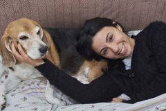 Young woman and her Beagle dog stock image