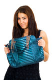 Young woman with her big purse Stock Image