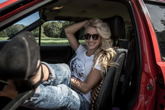 Young Woman in her Car Royalty Free Stock Photo