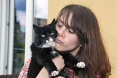 Young woman and her cat Royalty Free Stock Images