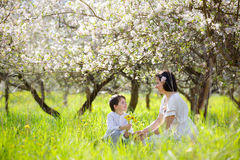 Young woman and her child in spring apple garden royalty free stock photos