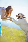 Young woman with her dog Royalty Free Stock Image