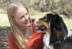 YOung Woman and Her Dog Royalty Free Stock Image